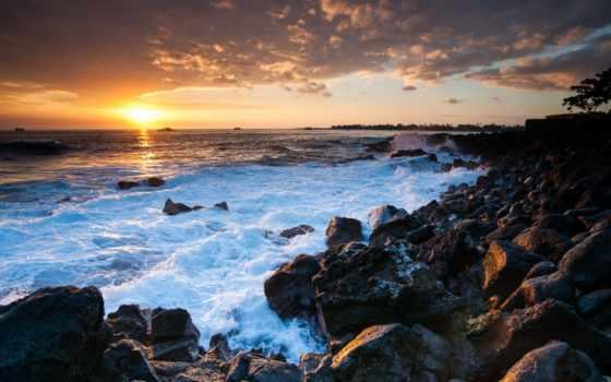 закат, ocean, hawaii
