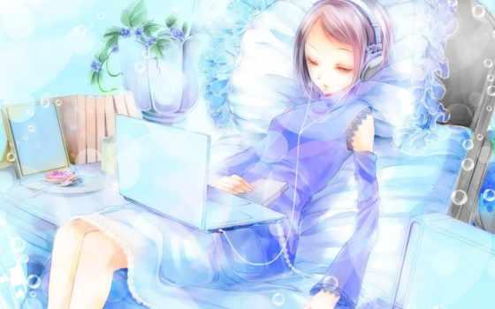 anime, наушники, девушка