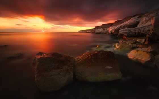 ecran, soleil, ciel, coucher, fond, paysage, fonds, природа, nuages,