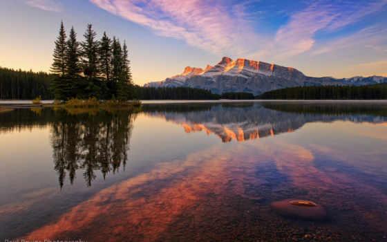 озеро, jack, канадский, park, national, горы, banff, лес, два,