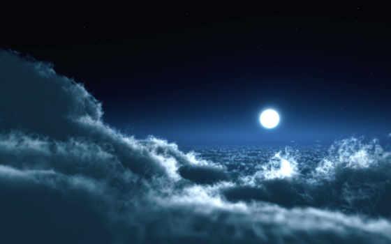 луна, небо, oblaka, ночь, пейзажи -, бесплатные, широкоформатные, улица, со, истребитель,