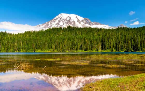 mount, park, горы, rainier, природа, national, glacier, озеро, landscape, nisqually, сша,