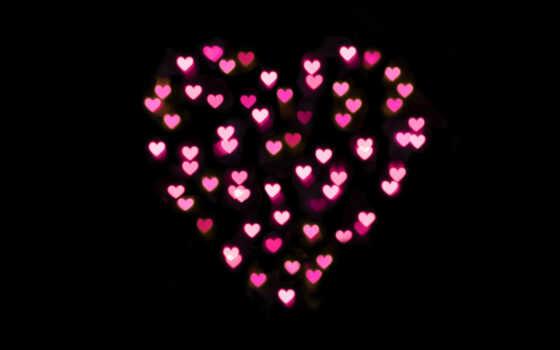 love, сердце, фон, розовый, little, сердечек, black