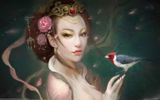 девушка, птица,