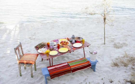 еда, пляж, пляже