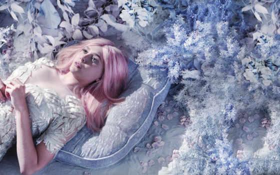 olsen, журнала, elizabeth, bullett, волосы, розовые, позирует, розового, парике,