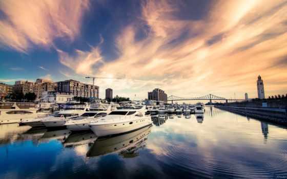 город, дома, небо, мост, здания, река, катера, города, яхты,
