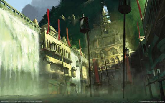 меч, heavenly, art, concept, водопад, город, здания, клетки, дымка, taini,