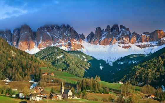 funes, долина, альпы, ди, magdalena, val, italian, stock, деревня, italy,