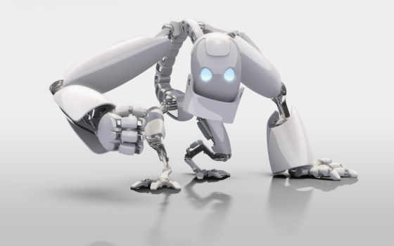 robot, white, трехмерные