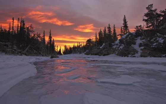 winter, река, закат