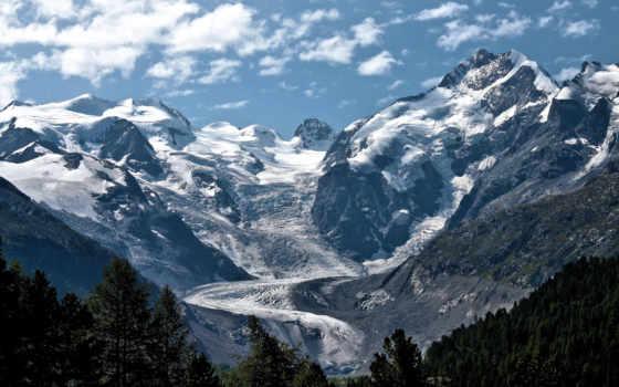 glacier, mountains, природа, лед, снег, гора, free, поток,