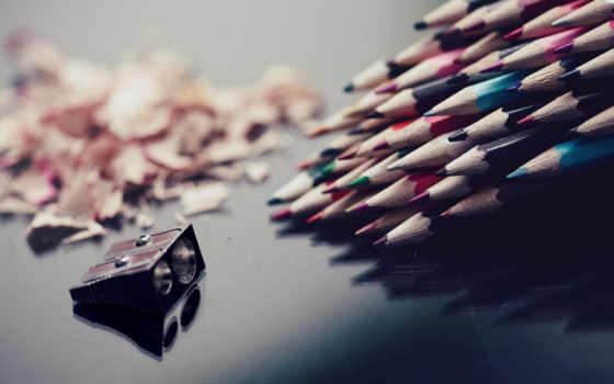 карандаши, точилка, цветные, макро, разное,