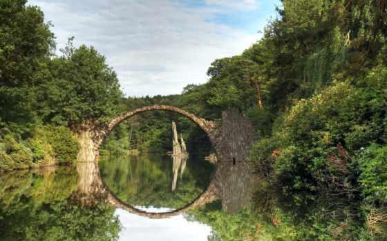 мост, kromlau, притчи, park, два, azalea, рододендрон, магнитиза,