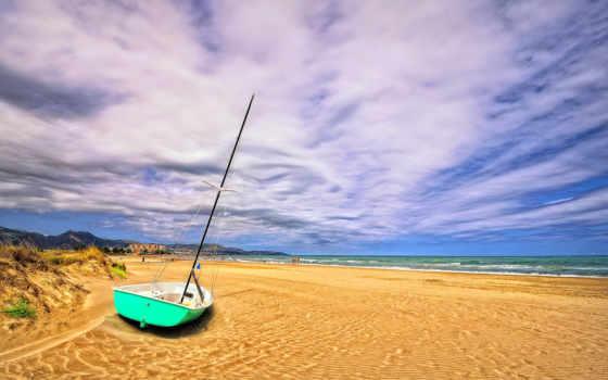 море, берег, испания, grau, лодка, castello, природа, landscape, восход, mediterranean,