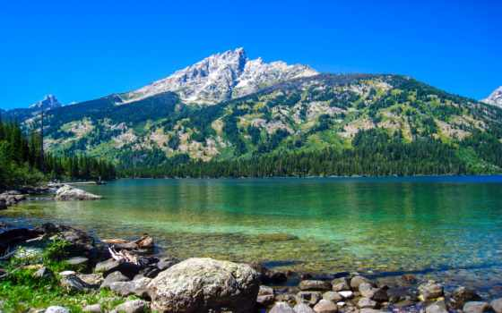 озеро, горы, teton, national, grand, главная, дженни, park, wyoming,