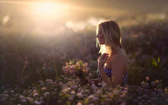 поле, девушка, cvety, sun, цветами, devushki,