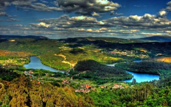 landscape, река, леса, остров, город, небо, холмы, взгляд, oblaka, сверху, тени,