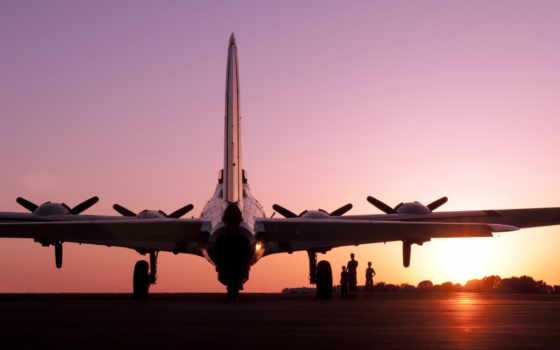 самолёт, самолеты, закат