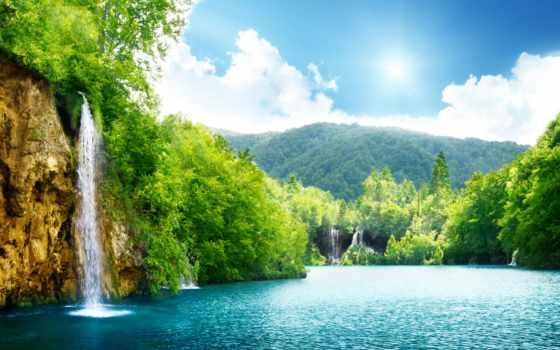 водопады, река, лес