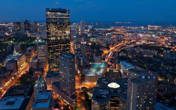 город, бостон, boston, города, сша, ночь, массачусетс, картинка,