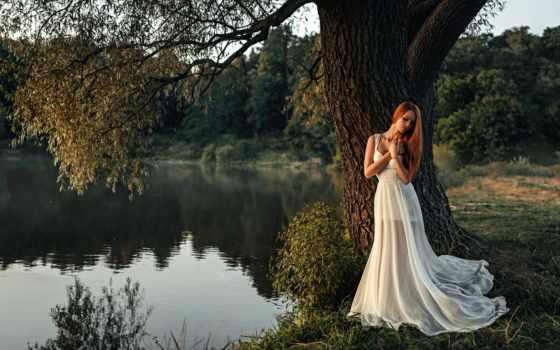 девушка, yaad, пруд, white, интересно, дерево, фотограф, jab