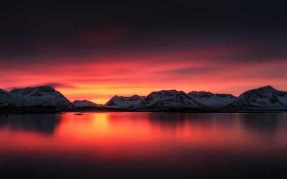 zakat, gora, more, пейзаж, красивый, небо, priroda, фотография, плакат, print, ozero