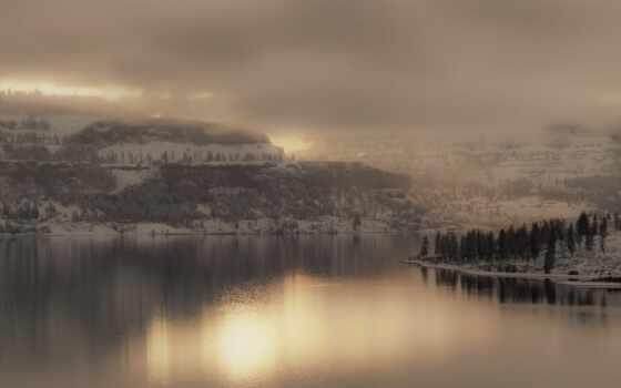 landscape, природа, winter, снег, гора, лес, озеро, туман, weed