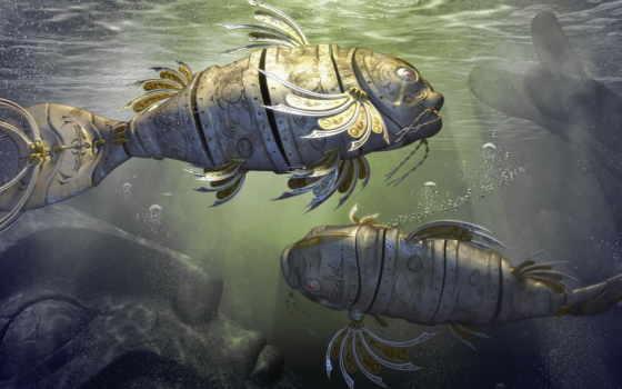 рыбы, под, фэнтези