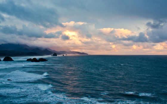 море, oblaka, небо, скалы, глыбы, горы, камни, закат, волны,
