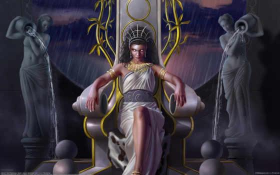 goddess, art, девушка, трон, toni, rodriguez, сидит, дождь, water,