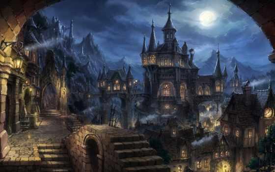 город, ночь, art, огни, фонари, castle, красивые, луна, fantasy, tomaknights,
