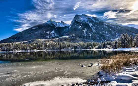 bavière, allemagne, paysage, природа, montagnes, lac, arbres, montagne, hiver,