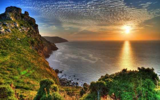 scenery, англия, clouds, изображение, desktop, природа, море, sunrises, sunsets,