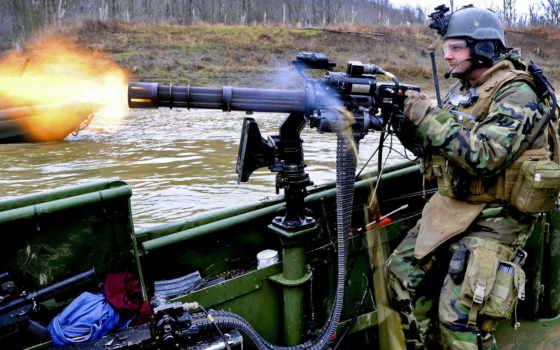 gau, огонь, миниган, солдат, лента, стрелок, вода, лодка, photos, weapon, gun,
