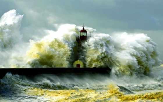 маяк, волны, буря