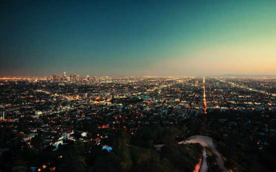 закат, город, вечер