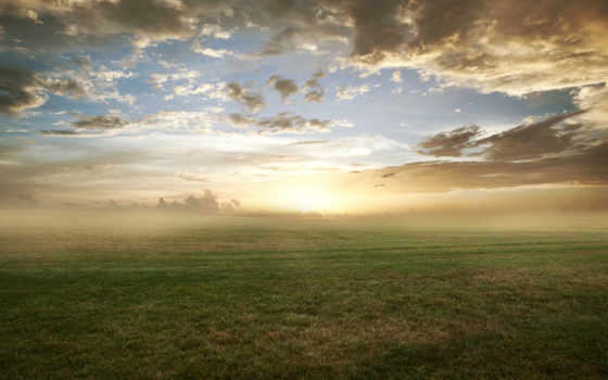 солнца, rising, поле, природа, полем, со, туман, тумане, favourite,
