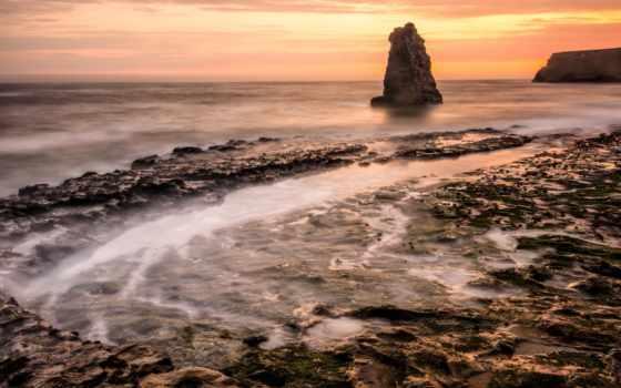 рассвет, пляж, утро, море, rock,