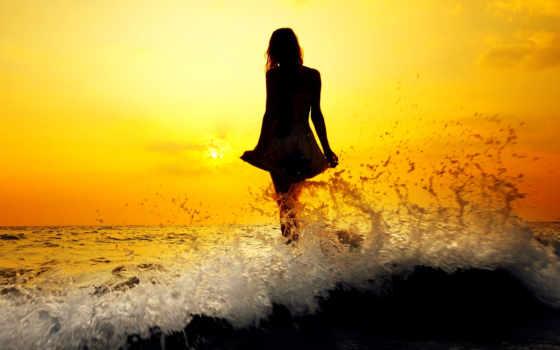 силуэт, devushki, девушка, fone, море, закат, заката, sun, рисунок, картинка, стоящей,