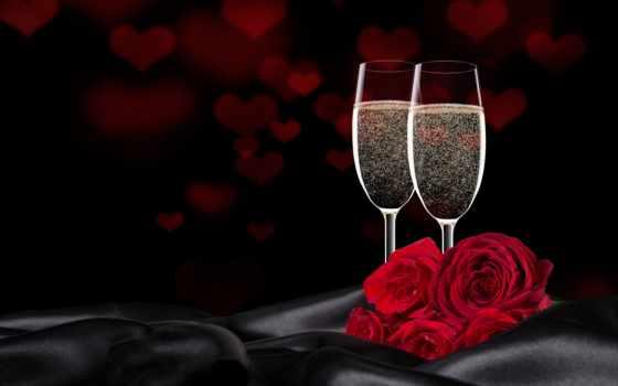 день, вино, roses, valentine, love, дар, stock,
