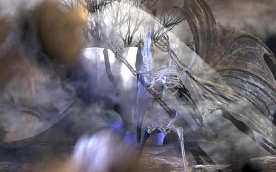 остов, крыльями, девушка, темном, могилу, свою, покидает, дьявольскими, скелеты, кладбище, мячом,