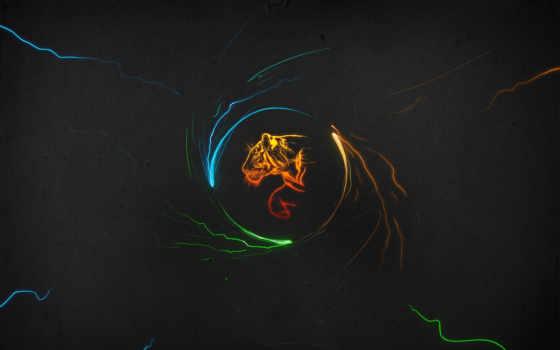 тигр, темы, минимализм, windows, tigers, multicolor, темном, spark, orb, фоне, minimal,