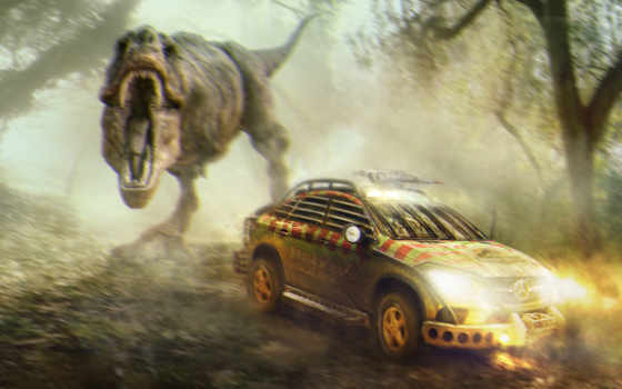 jurassic, world, car