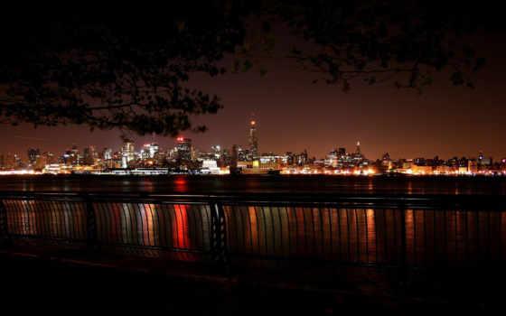 город, ночь, ночная, города, набережная,