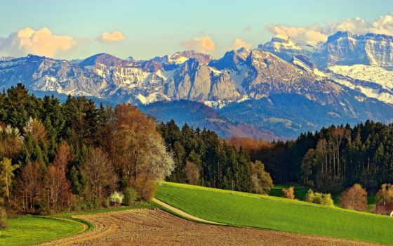 дорога, горы, небо, oblaka, лес, trees, поле, скалы, снег, луг,
