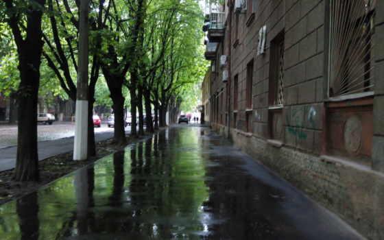 дождь, города, water, улица, лужи, город, разделе,
