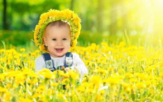 венок, одуванчиков, одуванчики, ребенок, baby, улыбка, свет, happy, солнечный, лугу,
