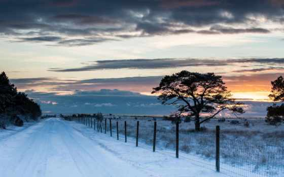winter, снег, забор, trees, небо, природа, clouds, landscape, дорога, дерево,