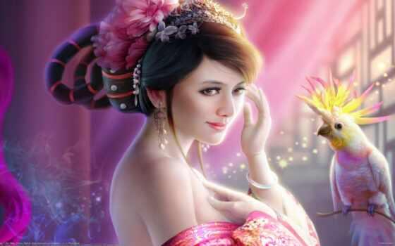 девушка, fantasy, art, птица, попугай, fentezti, gorgeous, tang